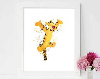 Tigger art print ,Winnie the Pooh disney, watercolor poster, Art Print, instant download, Watercolor Print, poster, Home Decor