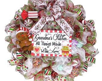 Christmas Gingerbread Man Wreath - Christmas Wreath -  Holiday Fun Wreath - Giant Front Door Wreath - Christmas Decor