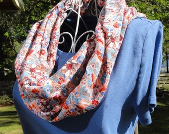 White/Peach/Multi Floral Print Infinity Scarf // Rayon Challis // Gifts for Her // Spring Accessories // Mother's Day Gifts