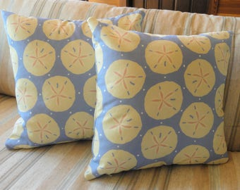 Sand Dollar Pillow Cover // Sea Shells // Blue, Tan, Sand, White // Beach House Decor // Summer Pillow // 20 x 20 // 22 x 22