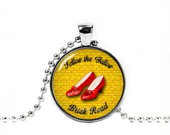 Ruby Slippers Necklace Wizard of Oz Pendant Follow the Yellow brick road Photo Glass Pendant Fandom Jewelry