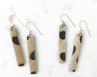 Leopard Hair Bar Leather Earrings