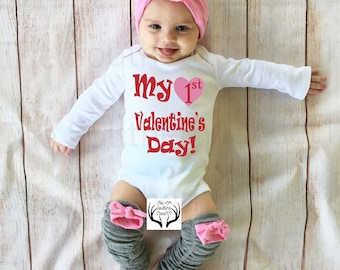 Girls First Valentine's Day Outfit, My 1st Valentines Day, Girl Coming home outfit,First Valentine,Legwarmers,Girl valentines day Outfit