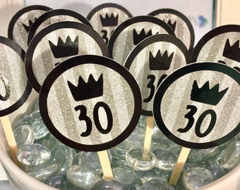 30th Birthday Cupcake Toppers for Him