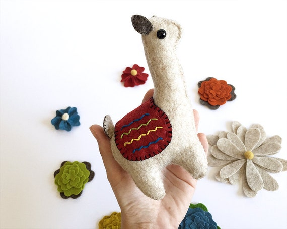 Llama Celeste | Llamas | Llama Art | Stuffed Animal | Gift for her | Llama Toy | Soft Sculpture | Exotic Animal | Llama Gift | Wool Felt