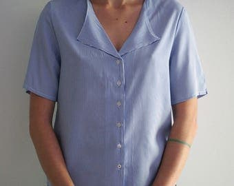 Stripped shirt | Stripped blouse | Summer shirt with blue strip pattern