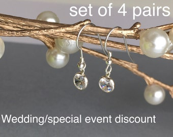 Wedding Sterling Silver Earrings, Bridesmaid Sterling Silver Cubic Zirconia Earrings, Special Event Jewelry, CZ Earrings, Dangle Sparkling