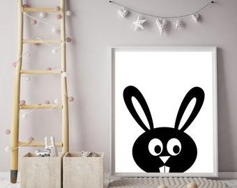 Bunny Print, Nursery animal print, Poster, Minimal, Black and White Rabbit, Peekaboo bunny, Nursery Decor,Instant Download