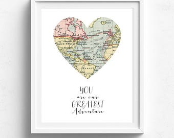 You Are Our Greatest Adventure, Printable Map, Travel Theme Nursery,Map Decor, Vintage Map Decor, Map Print, Map Wall Art, Adventure Nursery