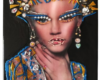 Fruit of Passion VI - Hand embellished with acrylic on canvas and a collage of photography, pearls and Swarovski blingie beads