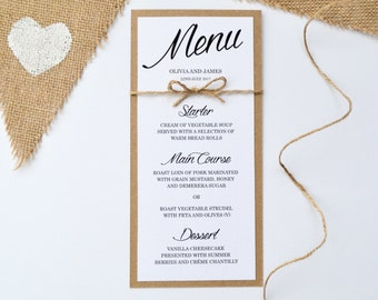 Rustic Wedding Menu - Handmade Stationery