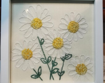 Daisy bunch embroidery, framed and made to order