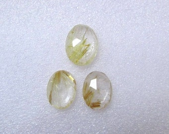 Pair (3 pcs) Natural GOLDEN Rutile, Uneven Rose Cut, Size (16x12.5mm - 1 pcs Or 14.5x11.5 mm -2 pcs) Irregular Rose cut,AAA Quality