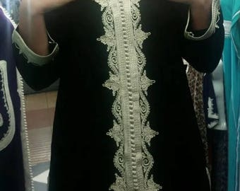 Ladies Handmade Moroccan Boho Hippy Black & ivory 1960's inspired fab Embroidery Tunic