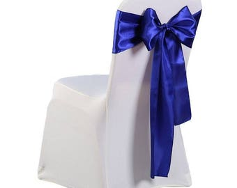 """7""""X108"""" Royal Blue Satin Sashes Chair Cover Bow Sash WIDER FULLER BOWS Wedding Party"""