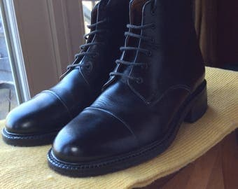 Black Cap Toe Leather Boots - Size 7
