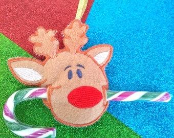 Rudolph Reindeer Candy Cane Holder Stocking Filler Decoration