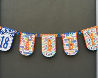 Birthday Banner Orange and Blue Custom Order