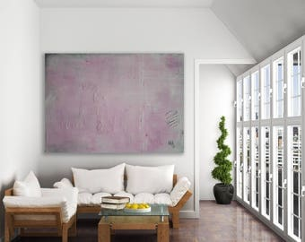 Extra Large Textured Pink Abstract Painting / Modern Art / Pale Pink Painting / Textured Pink and Grey Painting / Abstract Pink Painting