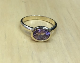 Amethyst Bazel Ring. Amethyst Ring. February Birth stone Ring