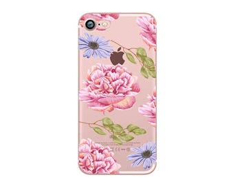 Pink Rose- iphone 6s case, clear iphone 6 case, clear iphone case ,clear - iphone 7s case, clear iphone 7 case, ,clear iphone cases