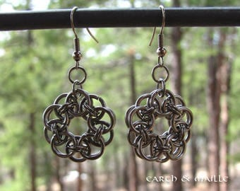 Helm Chainmail Earrings Stainless Steel, Stainless Steel Earrings, Chainmaille Earrings