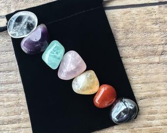 Chakra Stone Set, Chakra Stones, 7 Chakra Crystals, Chakra Set, Crystal Therapy, Crystals, Tumbled Stones