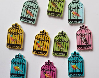 10 Gorgeous Birdcage Buttons - Wooden