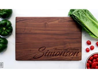 Custom Engraved Cutting Board- Large Cutting Board, Personalized Cutting Board, Wedding gift, couples cutting board gift idea
