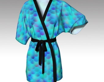 Kimono Robe, Draped Kimono, Dressing Gown, Mermaid Robe, Beach Coverup, Bridesmaids Robes, Lounge Wear, Swimsuit Coverup, Womens Clothing