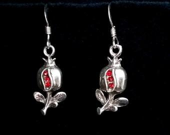 Pomegranate Earrings Granada, Sterling Silver Earrings, Zirconia Earrings, Symbol of Abundance, Granada Symbol, Red Earrings, Gift Idea