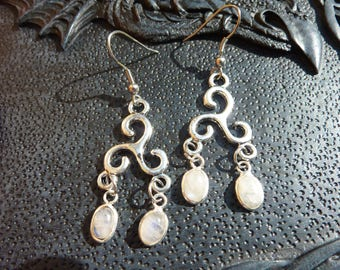 Long buckles(loops) of ears elvish medieval Celtic with spiral cross knot and moonstone moonstone will beat