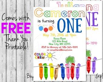 Color Crew - Crayons - Printable Birthday Invitation - Free Thank You Printable - 1st Birthday - Colorful Birthday