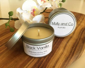 Black Vanilla - Natural Soy - Scented Candle in 4oz travel tin