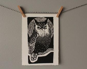 owl print, black and white art, monochrome decor, bird print, original art, linocut, owl, wall art, printmaking,