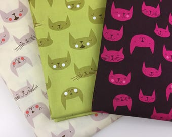Catnap, Cattitude, Purrfectly Happy, by Lizzy House, for Andover, fabric bundle, Fat Quarter, FQ, Half Yard, 1/2 Yd