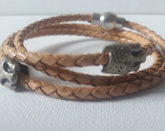 Lion leather wrap light brown braided leather  African style  bracelet, Lions charms safari cuff,