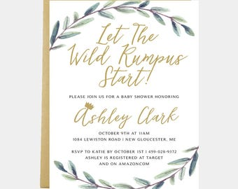 Where the Wild Things Are Baby Shower Invitation Birthday