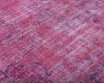 Turkish Vintage Overdyed Rug ,Carpet ,Anatolian Vintage area rug -wool rug-Handmade,Pink 228x323=7.36 m2, 8x11 ft