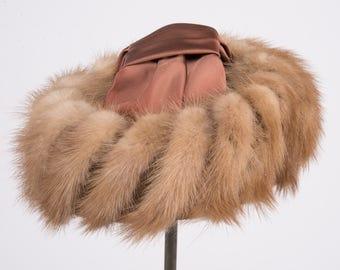 1950's mink, satin and velvet hat