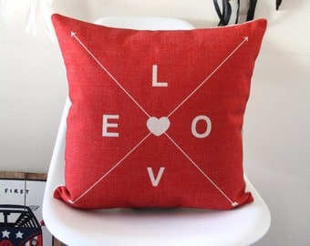 Love Text Red  - Pillow Cover, Decorative Pillow Cover, Red Throw Pillow, Red Pillow Covers, Sofa Pillow, Red Throw Pillows, Cushion cover