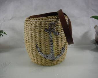 Straw bucket bag/handwoven straw handbag/basket/summer/picnic/casual tote