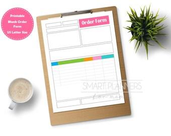 Printable blank order form, color. Planner insert. Order form binder. US Letter Size, Etsy seller. Order tracking template. Instant download
