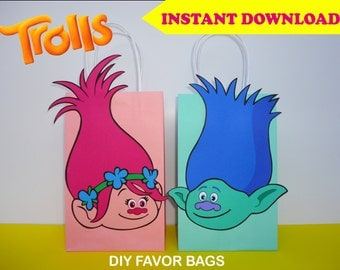 Trolls Party Bags/ Trolls FAVOR BAGS/ Trolls Party Favors/ Trolls Birthday Party/ PRINTABLE Decoration/ Goodie/ Treat/ Candy/ Loot/Gift Bags