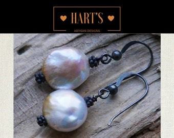 Coin Pearl Oxidized Sterling Silver Earrings