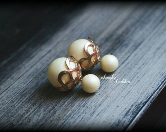 Beige beads double Pearl Stud Earrings