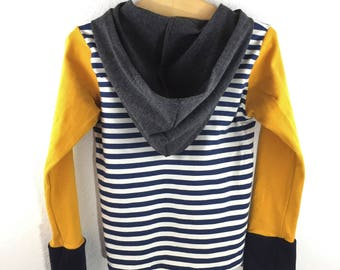 Long Sleeve T-Shirt Hoodie- Navy, Ivory and Mustard Yellow