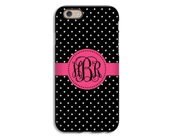 Monogram iPhone 7 case, black and white polka dots iPhone 7 Plus case, iPhone 6s case/iPhone 6s Plus case, 3D iPhone case, girls iPhone case