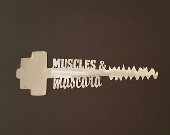 Muscles and Mascara Metal Wall Art with Dumbbell and Mascara Wand/Gym Decor/Metal Dumbbell Wall Decor/Metal/Female Gym Decor/Home Gym