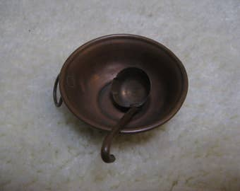 For the dollhouse ... french antique brass miniature wok pan with spoon around 1880!